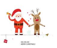 Terra arrendada da mão de Papai Noel e de cervos Cartão do ano novo feliz e do Feliz Natal Imagens de Stock