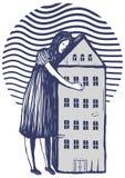 Terra arrendada da mulher sua casa em seus braços ilustração stock