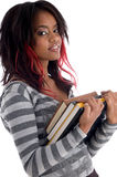 Terra arrendada do estudante do adolescente seus livros de estudo Foto de Stock Royalty Free