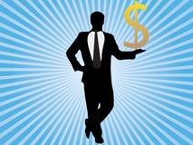 Terra arrendada do homem de negócios em seu dólar da mão Fotografia de Stock Royalty Free