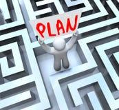 A terra arrendada do homem do plano assina dentro Maze Labyrinth ilustração royalty free