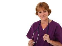 Terra arrendada Stethoscop da enfermeira nas mãos Imagens de Stock Royalty Free