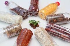 A terra, as árvores e o plástico engarrafaram o alimento Imagem de Stock Royalty Free