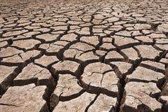 Terra asciutta incrinata senza acqua Fotografie Stock Libere da Diritti