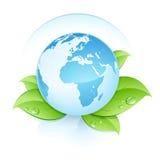 Terra azul nas folhas Ilustração Stock
