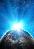 Terra azul no espaço Fotos de Stock