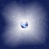 Terra azul no fundo brilhante do espaço da faísca da estrela Foto de Stock