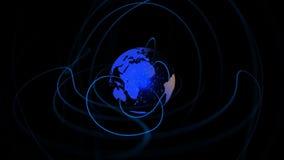 Terra azul que gira com as linhas que emulam dela ilustração do vetor