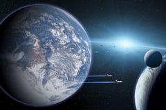 Terra blu del pianeta Navette spaziali che decollano in missione Fotografia Stock