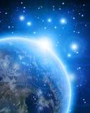 Terra blu del pianeta nello spazio cosmico illustrazione di stock