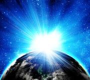 Terra blu nello spazio Fotografie Stock Libere da Diritti