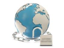 Terra, catena e lucchetto aperto con il grante di accesso Immagine Stock Libera da Diritti