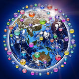 Terra, cercada pela esfera, composta dos ícones ilustração do vetor