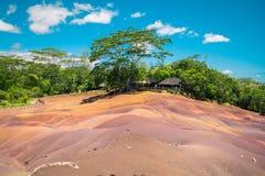 Terra colorida de Chamarel sete fotografia de stock royalty free