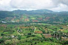 Terra coltivata sulla montagna con il cielo nuvoloso nella stagione delle pioggie Fotografia Stock
