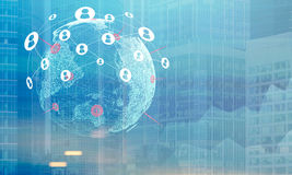 Terra com a cidade, o gráfico e a rede, azuis Imagem de Stock