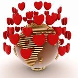 Terra com corações Foto de Stock Royalty Free