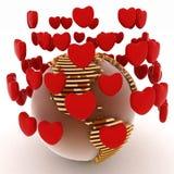 Terra com corações Fotografia de Stock Royalty Free