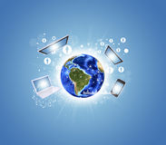Terra com eletrônica, gráficos e rede Fotos de Stock