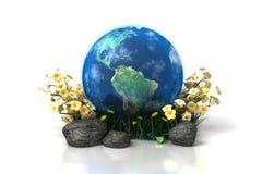 Terra com grama e rochas das flores Fotografia de Stock Royalty Free