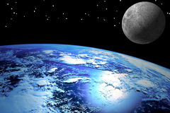 Terra com lua Fotografia de Stock