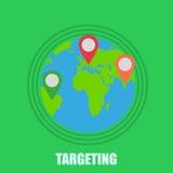 Terra com o ponteiro que visa a ilustração no fundo verde Foto de Stock Royalty Free