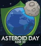 Terra com o protetor que protege contra asteroides durante o dia asteroide, ilustração do vetor ilustração do vetor
