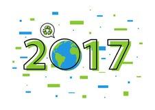 A terra 2017 com recicla a ilustração do vetor do sinal ilustração royalty free
