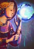 Terra commovente di angelo Concetto divino di cura Pittura contemporanea royalty illustrazione gratis