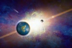 Terra-como o planeta potencialmente habitável com água líquida ilustração stock