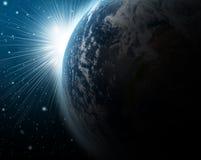 Terra con aumentare Sun Fotografia Stock