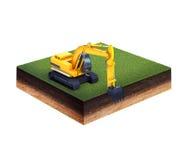 Terra con erba e l'escavatore Fotografie Stock