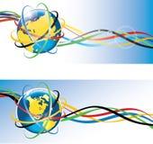 Terra con gli anelli olimpici e nastri adesivi olimpici Fotografie Stock Libere da Diritti