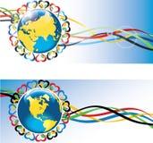 Terra con i cuori e nastri adesivi olimpici. Immagine Stock
