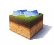 Terra con i pannelli solari Fotografie Stock Libere da Diritti