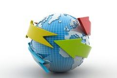 Terra con il cerchio della freccia intorno Illustrazione di Stock