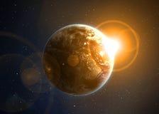Terra con il sol levante Fotografie Stock