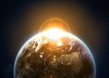 Terra con il sol levante Fotografia Stock Libera da Diritti