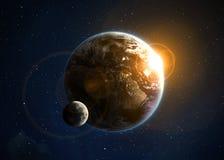Terra con il sol levante Immagini Stock Libere da Diritti