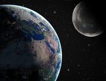 Terra con la luna Fotografie Stock