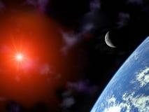Terra con la luna ed il sole a mezzaluna sopra l'universo Fotografie Stock Libere da Diritti