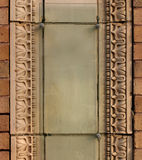 Terra cotta architectural decoration. Plaque ready for your business to use for advertising - your name here stock photos