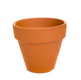 Terra Cotta Flower Pot. An orange, generic terra cotta flower pot or plant container on a white background Royalty Free Stock Photography