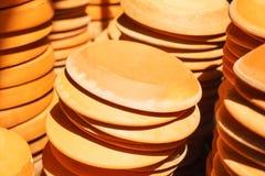 Terra-cotta flower pot saucers Stock Photography