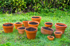 Terra Cotta Garden Pots with Soil Stock Photography