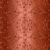 Terra cotta monochrome 3d damask seamless pattern. Vector floral. Shiny background wallpaper. Beautiful vintage hand drawn ornament. Surface swirls, leaves royalty free illustration