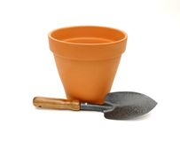 Terra Cotta Pot and Spade. Ready for spring planting Stock Photo