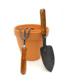 Terra Cotta Pot and Tools Royalty Free Stock Photos