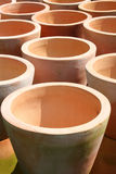 Terra Cotta Pots. The Mouths of Terra Cotta Pots Create an Abstract Design Stock Image