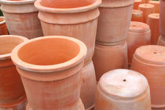 Terra Cotta Pots. Terra cotta planters await sale at a garden supply store Royalty Free Stock Photos